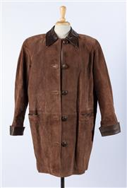 Sale 9003F - Lot 24 - A Ladies Chocolate Brown Suede Car Coat with brown leather collar and cuffs, Size S, (minor discolouration to inside)