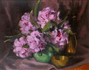 Sale 9002A - Lot 5004 - Val Walton - Pink Pearl Rhodys 40 x 48 cm