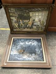 Sale 9024 - Lot 2073 - Group of (3) Assorted Works: D. Stier Deer in Winterscape oil, Gallahs editioned/signed print, plus Ornately framed Print