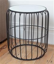 Sale 9070H - Lot 48 - A mirrored top wrought iron cage form occasional table, Height 58cm, Diameter 44cm