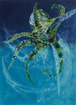 Sale 9112A - Lot 5023 - Frank Hodgkinson (1919 - 2001) - Octopus, 1997 60 x 44.5 cm (frame: 96 x 77 x 4 cm)