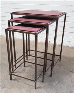 Sale 9121 - Lot 1056 - Nest of three modern metal side tables (h:70 w:51 d:41cm)