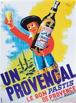 Sale 9134H - Lot 22 - A tin sign depicting Un Provencal, Le Bon Pastis de Provence after Havas. 40 x 30cm