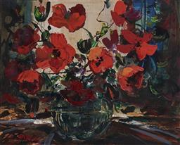 Sale 9170A - Lot 5093 - KARLIS MEDNIS (1910 - 1999) Red Arrangement oil on board 49 x 62 cm (frame: 61 x 73 x 4 cm) signed lower left