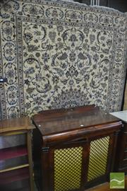 Sale 8335 - Lot 1058 - Persian Nain Wool  & Silk Inlaid Carpet, with blue arabesques on a cream field, 306 x 200 cm