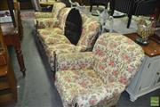 Sale 8390 - Lot 1495 - Antique English Burr Walnut Three Piece Lounge Suite incl. Pair of Armchairs & Three Seater