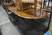 Sale 8416 - Lot 1100 - Early Georgian Style Burr Walnut Extension Dining Table, the D shaped ends with cross-banding & single-leaf, raised on double pede...