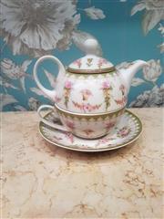 Sale 8500A - Lot 64 - A vintage style floral porcelain Tea for One set - Condition: As New - Measurements: 13cm wide x 10cm high