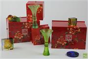 Sale 8505 - Lot 30 - Boxed Designer Chinese Glassware Including Green Glass Vases