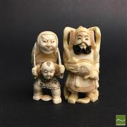 Sale 8540N - Lot 17 - A Selection of Chinese Figural Ivory , each with stained highlights (2)