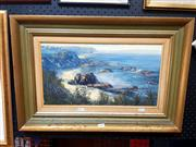 Sale 8671 - Lot 2009 - Michal Zaiter - Coastal Scene, oil on canvas, signed lower left, 24.5x45cm -