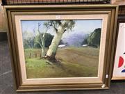Sale 8720 - Lot 2090 - Ken Farrow Patrol Landscape with Gum Tree oil on board 39.5 x 49.5cm, signed lower right
