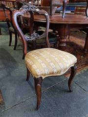 Sale 8814 - Lot 1090 - Victorian Carved Walnut Balloon Back Chair, with gold & cream striped fabric & on cabriole legs