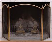 Sale 8908H - Lot 91 - A three fold brass fire screen. Height 76cm