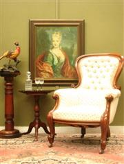 Sale 8925H - Lot 2 - An antique mahogany armchair, well upholstered with button back detail., Height 105cm, Width 75cm, Depth 86cm