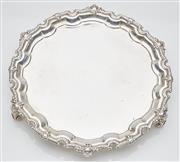 Sale 9085S - Lot 2 - Elizabeth II Sterling Silver raised salver, hallmarked Birmingham 1967, J.B.C & S, with piecrust border, highlighted with flowers an...