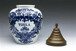 Sale 9093P - Lot 96 - C18th Dutch Delft Jar with Brass Cover (H: 36 cm)