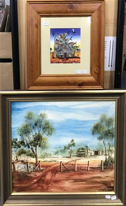 Sale 9103 - Lot 2077 - 2 Works: Howard Steer Decorative Print together with a 70s Outback Homestead Painting by Dick Anderson