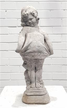 Sale 9108 - Lot 1004 - Concrete girl statue (h:58cm)