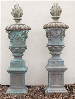 Sale 9200P - Lot 39 - A spectacular pair of GRC urns on plinths with an aged bronze finish, Height 240cm x Base 56cm squared