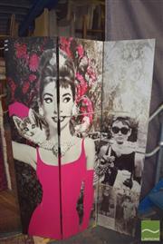 Sale 8390 - Lot 1279 - Four Panel Dressing Screen Depicting Audrey Hepburn