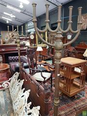 Sale 8576 - Lot 1049 - Pair of Large Brass Floor Candelabra, each with five branches, on turned shafts & cast iron bases