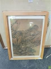 Sale 8619 - Lot 2073 - Artist Unknown (Chinese School) Mountain Landscape, ink on silk, signed and inscribed upper right
