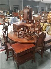 Sale 8676 - Lot 1396 - Oak Seven Piece Dining Setting incl. Round Top Table on Castors & Six Leatherette Upholstered Chairs