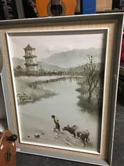 Sale 8674 - Lot 2090 - Chinese Framed Oil Painting, signed lower left