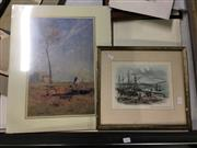 Sale 8730 - Lot 2053 - 3 Works: ST Gill - WA Wiggins - Farm Cove and Fort Denison, Sydney, pencil, SLR; Sandridge Williams Town Print;