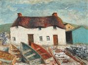 Sale 8755 - Lot 555 - Sali Herman (1898 - 1993) - Moored Boats, 1979 45 x 60cm