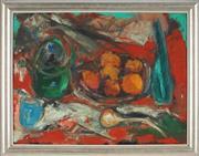 Sale 8828 - Lot 2002 - Ian Chambers (1930 -) - Still Life - Fruit, Teapot and Vase 43 x 57.5cm