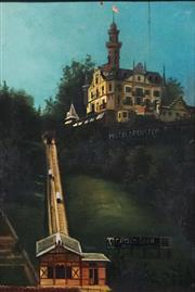 Sale 8821A - Lot 5059 - Artist Unknown (C19th) - Chateau Gütsch Funicular, Lucerne, Switzerland, c1885 31 x 21cm