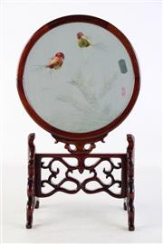 Sale 8935D - Lot 685 - Chinese panel featuring Fish on carved wooden stand (total height 35.5cm)