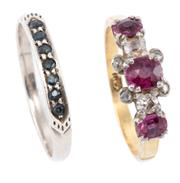 Sale 8954 - Lot 306 - TWO STONE SET RINGS; one in 18ct gold set with 3 oval cut rubies, 2 Old European cut diamonds (one chipped) and 4 rose cut diamonds,...
