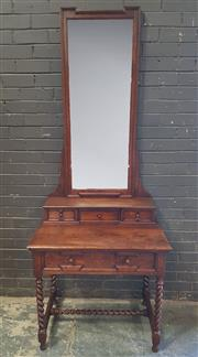 Sale 8976 - Lot 1005 - Oak Mirrored Back Hall Stand with Mirrored Back (H:214 x W:83 x D:56cm)