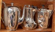 Sale 9060H - Lot 48 - Three non matching coffee pots in silver plate. Height of largest 21cm