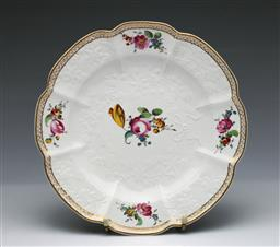Sale 9093P - Lot 97 - C18th Hochst Floral Plate with Relief Decoartion, diam. 25cm.