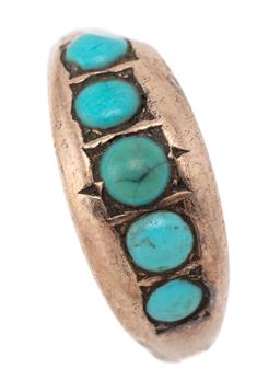Sale 9107J - Lot 354 - A VICTORIAN GOLD STONE SET RING; 8mm wide tapered ring set across the top with 5 cabochon turquoise (shank split) with Chester hallm...