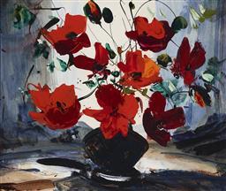 Sale 9170A - Lot 5097 - KARLIS MEDNIS (1910 - 1999) Still Life oil and enamel on board 42 x 50 cm (frame: 63 x 71 x 4 cm) signed lower left
