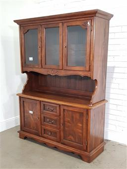 Sale 9191 - Lot 1071 - French style buffet and hutch  with marquetry front doors (h:294 x w:153 x d:54cm)