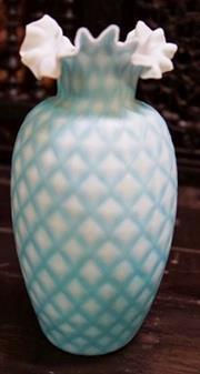 Sale 8320 - Lot 722 - Frill necked satin glass vase with diamond decoration circa 1890