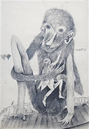 Sale 8410A - Lot 5007 - Anne Hall (1945 - ) - Untitled, 1969 (Monkey and Figure) 101 x 70cm (sheet size)