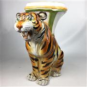 Sale 8445A - Lot 32 - Italian Pottery Crouching Tiger Pedestal Plant Stand