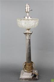 Sale 8635W - Lot 74 - Silver Plated Converted Kerosene Lantern (Glass top very loose) H:57cm