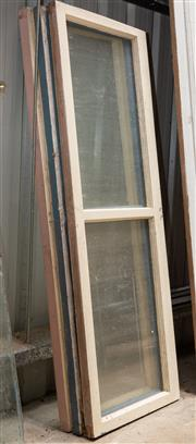 Sale 8677A - Lot 78 - A set of three timber framed windows, each of two windows, H 153 x W 54cm
