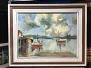 Sale 8753 - Lot 2070 - P E Bergman Wallis Lake Forster oil on board, 61 x 76cm, signed lower right -