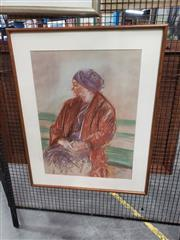 Sale 8981 - Lot 2054 - Julia Schultz Portrait: Waiting Room pastel, 70 x 57cm, signed