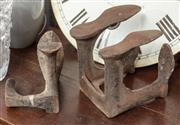 Sale 9060H - Lot 49 - Two cast iron boot makers last, one three , the other four pronged. Larger H 24cm