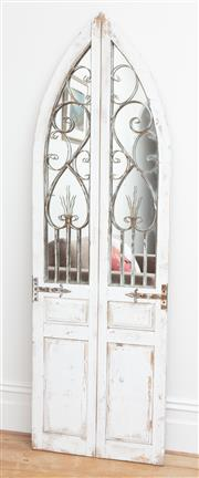 Sale 9070H - Lot 51 - A Gothic style double door with mirrored back with ironwork, Height 180cm x Width 57cm